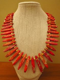 Orange Imperial Jasper Stick Necklace - pinned by pin4etsy.com