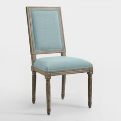 Blue Linen Square-Back Paige Dining Chairs, Set of 2 - v1