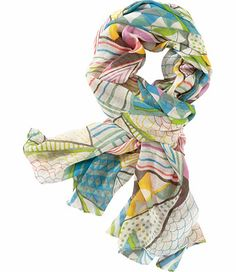 A fluttery pop of print we can pop in our bag, around our necks, heads, and anywhere else we need pizzaz. Viscose/modal.