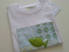 Funny Boys T-shirt - Fish Patchwork Tee - tarapatices handmade - perfect present! by tarapatices on Etsy