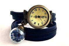 Skórzany zegarek z suszonymi kwiatami w EgginEgg na DaWanda.com
