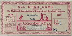 1939 MiLB All Star Game Doubleday Field stub