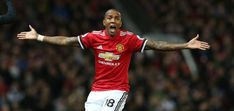 Ashley Young of Manchester United appeals a decision during the Premier League match between Manchester United and Southampton at Old Trafford on...