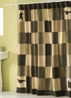 Kettle Grove Shower Curtain VHC Brands primitive shower curtains will dress up your country bathroom. Our shower curtains measure This Kettle Grove shower curtain features a patchwork block pa Primitive Homes, Primitive Bathrooms, Primitive Country, Primitive Decor, Primitive Stars, Country Bathrooms, Prim Decor, Farmhouse Bathrooms, Primitive Furniture