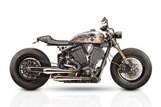 Victory Gunner Cafe Racer - Tattoo Projects. Una cafetera transformada con la base de una moto Victory llena de músculo americano.