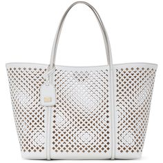 Dolce And Gabbana White Grained Leather Lattice Perforated Tote ($1,008) ❤ liked on Polyvore featuring bags, handbags, tote bags, purses, bolsos, white hand bags, white tote bag, handbag purse, white purse and purse pouch