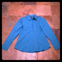 Turquoise Button Down Turquoise long sleeve button down top with pleating down front. 2 button closure on sleeves. Great color! Barely worn! NYCO Tops Button Down Shirts