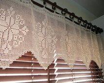 Crochet Curtain, Ecru Lace Curtains, Crochet Home Decor, Kitchen Curtains, Shabby Chic Curtains, Handmade Crochet, Unique Crochet Item