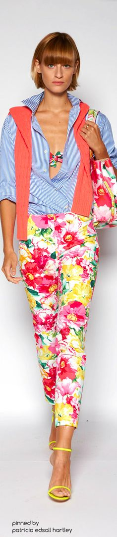 This is a pretty bright Spring outfit...but if you have the colors it would be fun...I am looking at it from mixed patterns which work for a Spring.