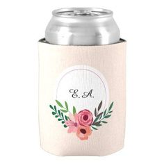 Elegant Spring Pastel Flowers Can Cooler - spring wedding diy marriage customize personalize couple idea individuel