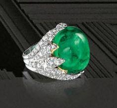 Cabochon Emerald and Diamond 'Leaves' Ring, Verdura'