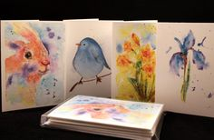 Assorted Set of Spring Original Watercolor PRINT Cards -Set of Four, Watercolor Cards, Spring Cards, Flower Cards, Bird Cards, Easter Cards, Bunny