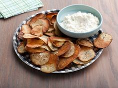 Cracked Pepper Potato Chips with Onion Dip : Ellie's baked potato chips have a satisfying crunch and less fat than store-bought, and once you try this easy, homemade onion dip, you'll never buy it at the store again.