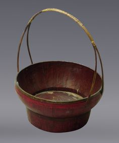 antique chinese  bamboo  furniture | Antique Bamboo Basket - Chinese Antiques Long Thin Handled Bamboo ...