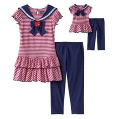 for Avery; Cute outfit but was wanting a dress. $36, reg. $60 (sale price seems reasonable, reg price way too much for what you get) Dollie & Me Striped Sailor Dress & Leggings Set - Girls 4-14
