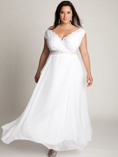 Plus Size Off-The-Shoulder Ankle-Length White Lace and Chiffon Wedding Dress 2012