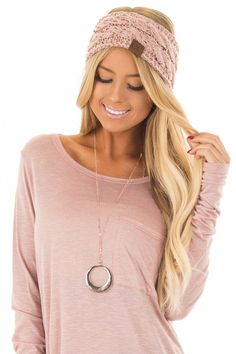 d4fb5e31811 Lime Lush Boutique - Dusty Pink Confetti Cable Knit Sherpa Lined Headband