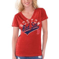 Boston Red Sox Touch by Alyssa Milano Women's Bases Loaded V-Neck T-Shirt – Red