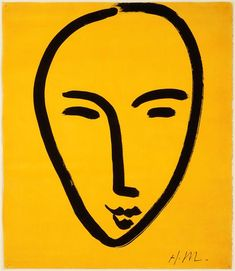 Henri Matisse, Visage sur fond jaune, 1952. Use this as an inspiration for a simple drawing of the Silence with hash marks
