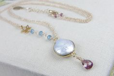 Bezel Set Coin Pearl Necklace  Lotus Flower by AlisonStorryJewelry