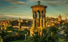 Descargar fondos de pantalla Greenside, Edimburgo, por la mañana, salida del sol, lugares de interés, monumentos, Escocia