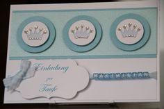 Einladungskarten - Einladungskarte Taufe Jungen Prinz - ein Designerstück von EvasCardArt bei DaWanda