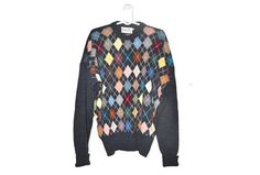 Mens Vintage Merino Wool Sweater Geometric Colorful Pullover