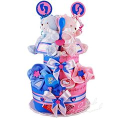 2 Tier Nappy cake for twins made from Pampers Nappies, Baby Toys Pluschtierchen, muslins, pacifier, Washcloths, bib with velcro fastener, baby spoon, Babytee, bath toy, Care and Cleaning Products (wipes, soft cream, bath & Shampoo) & decor item