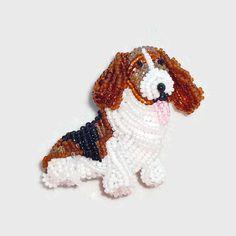 Бисера Бассет собака ювелирные изделия из бисера вышивка булавка Etsy Amazon ручной работы Boston художник освобождает перевозку груза