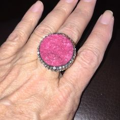 Pink Druzy statement ring So clearly I'm in love with this stone ❤️ this one is a beautiful pink color, 11 cts set in stainless. Sz 9 Jewelry Rings