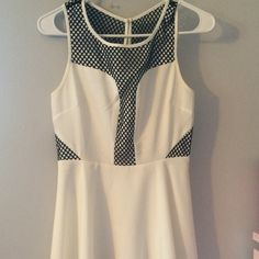 Forever 21 White and Black Dress Details: has small red mark on front. Size small Forever 21 Dresses