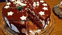 Banana cake with banana - HQ Recipes Xmas Food, Christmas Sweets, Christmas Cooking, Greek Sweets, Greek Desserts, Greek Recipes, Cinnamon Cake, Decadent Cakes, Cake Tins