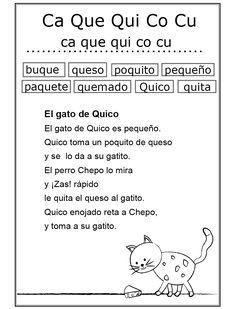 Estudio de las sílabas ca, que, qui, co, cu (Ficha Nº 21 Complementaria al Silabario)