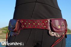 """Offrandes - Red leather """"utility belt."""" Making a fanny pack look awesome, well done."""