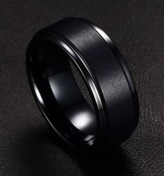 Top Quality Tungsten Steel Simple Black-Color Ring Men Wedding Engagement Classic Rings For Male Fashion Jewelry #Affiliate