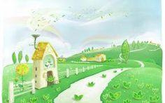 детские обои, домик, забор, дорожка, деревья, узоры, радуга, листья, холмы