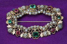 Spilla in oro, perle e pietre vere naturali, Parigi fine XVIII sec