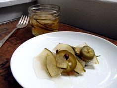 Pickled jalapeño watermelon rind (uses the microwave, very quick cooking time)
