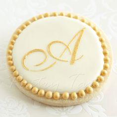 Gold Monogram Letter Wedding Cookie Favors // 1 doz. // Wedding Bridal Shower Vintage Script Initial Letter Personalized