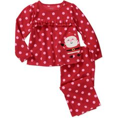 Child of Mine by Carters Baby Girls' 2 Piece Red Santa Fleece PJ's for girls, 9$