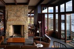 The living room atThalia Haven overlooks the ocean and is one the highlights of the prope...