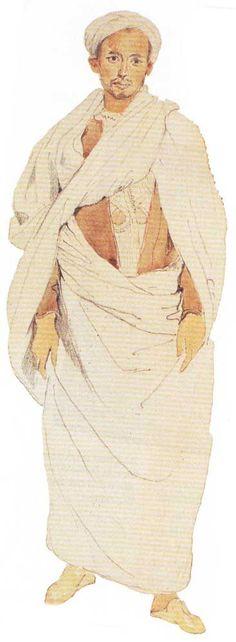 """Eugène Delacroix, """"Marocain de Tanger debout"""", mine de plomb et aquarelle, 27 x 18 cm, coll. particulière"""