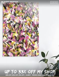 Discover «Wild strokes pattern - Pink and yellow», Limited Edition Acrylic Glass Print by Ninola - From 70€ - Curioos