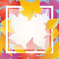Autumn card. Maple leaves frame. Autumn background. Fall leafs border. Vector illustration. Thanksgiving
