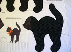 Cut Sew and Stuff Cat Fabric Panel,Black Cat, Kitty Pillow, Cat Pillow, Fabric Panel, Black Halloween Cat by VintagePlusCrafts on Etsy
