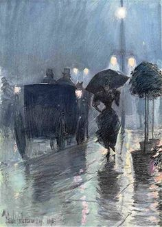 Frederick Childe Hassam - Evening in the Rain