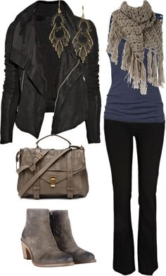 """Black Jeans with Gray"" by caliarch on Polyvore"