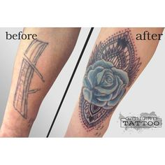 cover up blue rose tattoo
