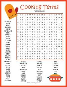 A word search puzzle with 60 hidden cooking vocabulary words. Lots of fun guaranteed with this big puzzle. Use this as an activity for early finishers or as a fun homework handout. Everyone will enjoy doing this word search - adults too! Senior Activities, Art Activities, Grammar Activities, Montessori Activities, Word Search Puzzles, Crossword Puzzles, Home Economics, Think, Food Words
