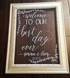 """Painted the frame to match the wedding colors as well. 2 more days, Sorina and Leon! #bestdayever #weddingdecor #welcomesign #weddingwelcome… Modern Calligraphy on a vintage picture frame for a welcome wedding sign. Made by Inkchanted Paper & Designs. Follow me on Instagram @inkchantedpd"